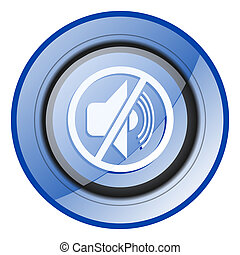 Mute round blue glossy web design icon isolated on white background
