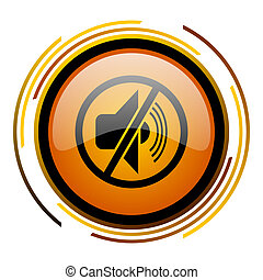 mute round design orange glossy web icon