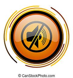 mute round design orange glossy web icon