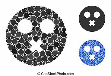 Mute smiley Mosaic Icon of Spheric Items