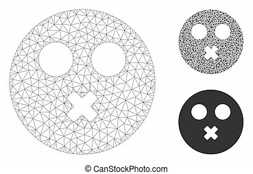 Mute Smiley Vector Mesh Network Model and Triangle Mosaic Icon
