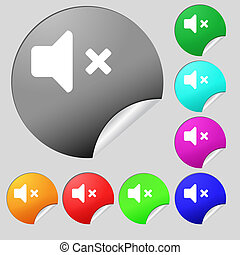 Mute speaker , Sound icon sign. Set of eight multi-colored round buttons, stickers.