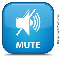 Mute special cyan blue square button
