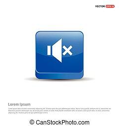 Mute volume Icon - 3d Blue Button