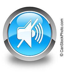 Mute volume icon glossy cyan blue round button