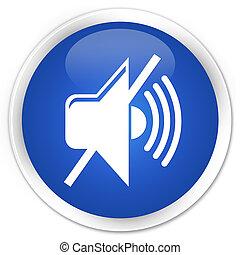 Mute volume icon premium blue round button