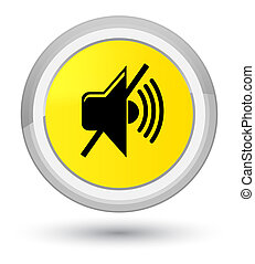 Mute volume icon prime yellow round button