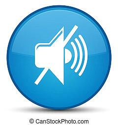 Mute volume icon special cyan blue round button
