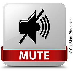 Mute white square button red ribbon in middle