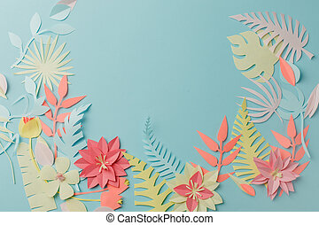 Muted color colorful flower composition - handmade papercraft flowers and leaves on pastel blue background, spring, summer, easter, holiday modern concept