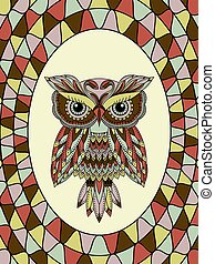 Muted stained glass with owl