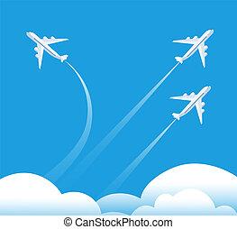mutevole, direzione, concept., aeroplano, volare, in,...