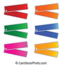 muti, etiketten, set, kleuren, illustratie