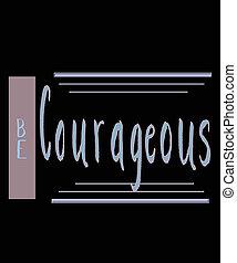 mutig, hand, lettered, sein, grafik