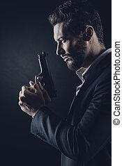 mutiges , pistole, mann