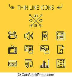 Mutimedia thin line icon set