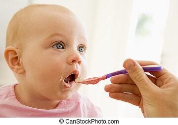 mutter, fütterung, babynahrung, zu, baby