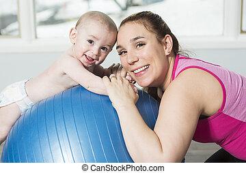 mutter, kind, junge, machen, fitness, übungen