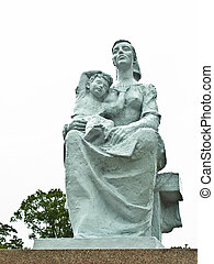 mutter kind, statue, an, nagasaki, frieden, park, in, nagasaki, japan