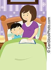 mutter, lesende , a, schlafenszeit geschichte