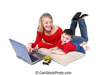 mutter, sohn, laptop