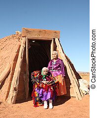 mutter tochter, traditionelle , navajo, frauen