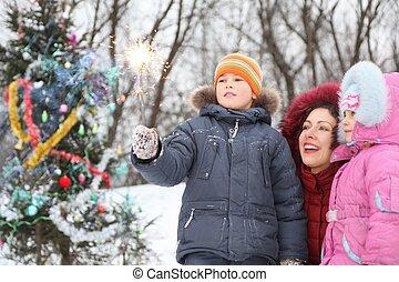 mutter, und, sie, zwei kinder, gleichfalls, stehende , bei, christmass, baum, und, anschauen, bengal, licht, in, jungen, hand.