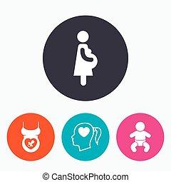 mutterschaft, icons., baby, säugling, schwangerschaft,...