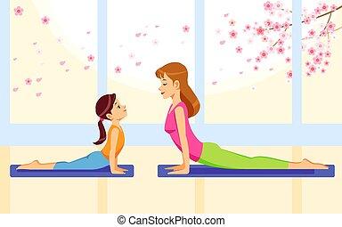 mutterschaft, wohnung, joga, vektor, home., aktivität, glücklich, zusammen, töchterchen, physisch, mutter, child-rearing., familie, abbildung, karikatur, lächeln, gesunde, fitness, übungen, lifestyle., begriff