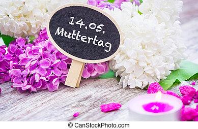 muttertag, dekoration, mit, lila, und, kerze