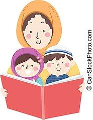 mutti, moslem, buch, lesen, storytelling, kinder