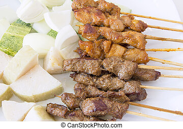 Mutton and Chicken Satay Dish Macro - Mutton and Chicken...