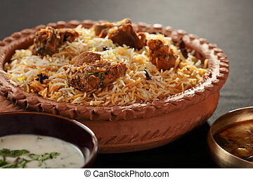Mutton Gosht Biryani - A rice preparation with mutton and ...