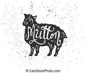 Mutton lettering in silhouette. - Farm animal silhouette ...