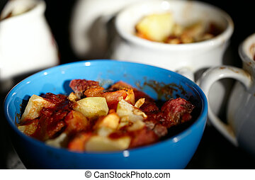 Mutton meat and potatoes, baked in cassolette.