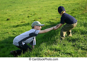 Mutual assistance - The younger brother helps the senior...