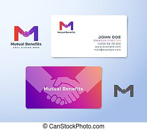 Mutual Benefit Abstract Vector Sign, Symbol or Logo Template and Business Cards. Hand Shake Incorporated in Letter M Concept Stationary.