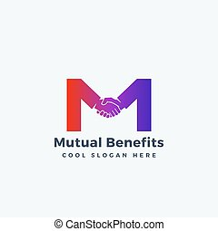 Mutual Benefit Abstract Vector Sign, Symbol or Logo Template. Hand Shake Incorporated in Letter M Concept.