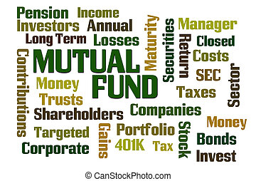 Mutual Fund word cloud on white background
