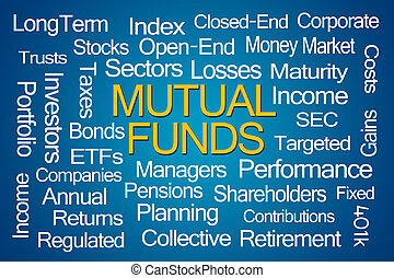 Mutual Funds Word Cloud on Blue Background