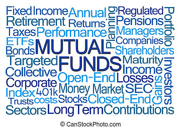 Mutual Funds Word Cloud on White Background
