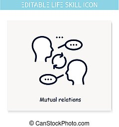 Mutual relations line icon.Amity,sociability, communication skill.Personality strengths and characteristics.Soft skills concept.Human resources management.Isolated vector illustration.Editable stroke