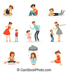 Mutual relations of parents and children, mom and dad scream and scold their children, negative children emotions