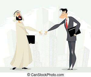 mutuel, hommes affaires, coopération