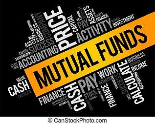 mutuo, concepto, fondos, collage, nube, palabra, empresa / negocio