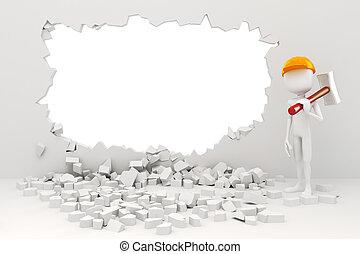 muur, 3d, het slopen, man