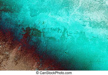muur, achtergrond., gebarsten, turkoois
