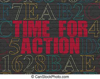 muur, actie, concept:, achtergrond, tijd