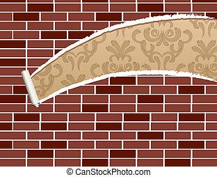 muur, afgescheurde, baksteen