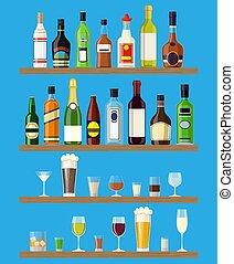 muur, anders, set, flessen, dranken